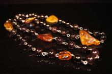 Chinese antique Amber & Agate necklace