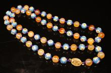 Chinese antique Agate & cloisonne necklace