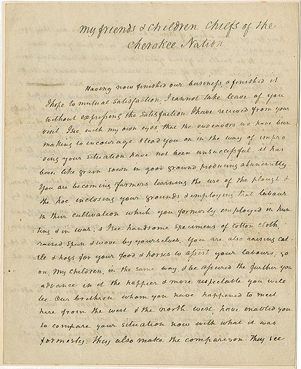 Jefferson, Thomas, as President. Highly important manuscript signed (