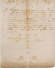 Jefferson, Thomas. As President Autograph letter in the third person (