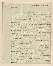 Madison, James. Autograph letter signed, 2 pages, Washington, 14 February 1802, to Governor Mercer.