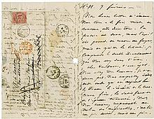 Hugo, Victor. Group of three autograph letters signed by the French author of Les Misérables.