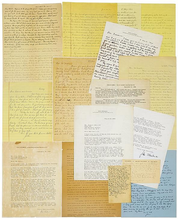Steinbeck, John. A comprehensive archive of fourteen typed and autograph letters signed.