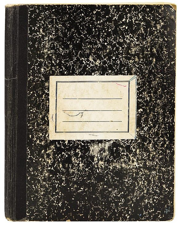 Jim Morrison important handwritten notebook containing over 100 pages of poems, philosophy and general musings.