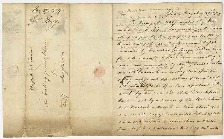 Henry, Patrick. Autograph letter signed as Governor of Virginia, 2 pages (9 ½ x 7 ¼ in.)