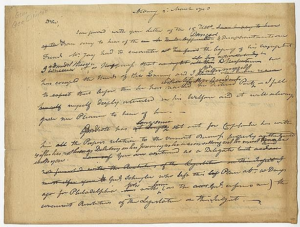 Clinton, George. Autograph letter signed, 2 pages (6 ¼ x 8 ¼ in.; 159 x 210 mm.)