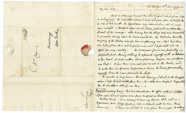 Jay, John. Autograph Letter Signed, 1 ¼ pages (8 7/8 x 7 3/8 in.; 225 x 187 mm.)