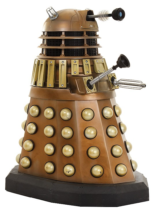 David Tennant-era bronze Dalek replica from Dr. Who.