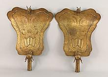 Pair Chinese Bronze Temple Standard Fan Plaques