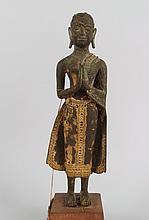 Thai Gilt Bronze Standing Buddha Figure