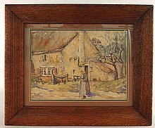 Frank A. Brown Farm Scene Watercolor Painting