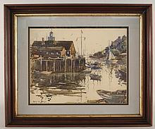 Harry DeMaine Seascape Dock Watercolor Painting