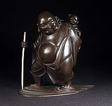 Japanese Patinated Bronze Figure Of Man & Child