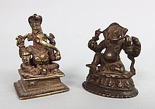 2 Small Indian Bronze Ganesh Figures