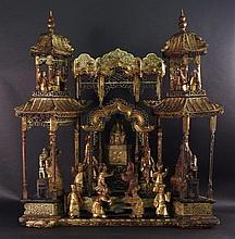 Chinese Elaborately Carved Gilt Wood Opera Scene