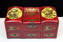 PAINTED SKIN COVERED DRESSING CASE