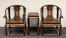 PAIR OF HUA-LI WOOD CHAIRS AND ONE SQUARE TABLE, INLAID WITH MOTHER-OF-PEARL