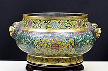 GILT CLOISONNE ENAMEL BRONZE BODY CENSOR