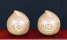 PAIR OF HUA LI  WOOD CARVING
