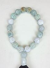 HOLLOW ENGRAVED JADEITE PRAYER'S BEADS, CLASS A