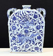BLUE AND WHITE PORCELAIN SQUARE POT