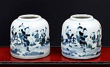PAIR OF BLUE AND WHITE PORCELAIN WATER POTS