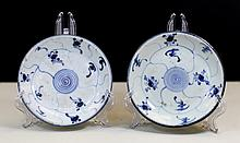 PAIR OF BLUE AND WHITE PORCELAIN DISHES