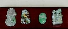 FOUR JADEITE CARVINGS