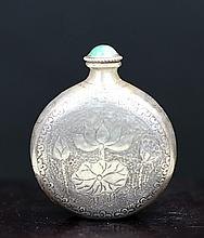 BRONZE SNUFF BOTTLE WITH CHISELED DESIGNS