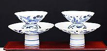 PAIR OF BLUE AND WHITE PORCELAIN CUPS