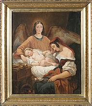 19th/20th c., o/c, mother and child with angel.