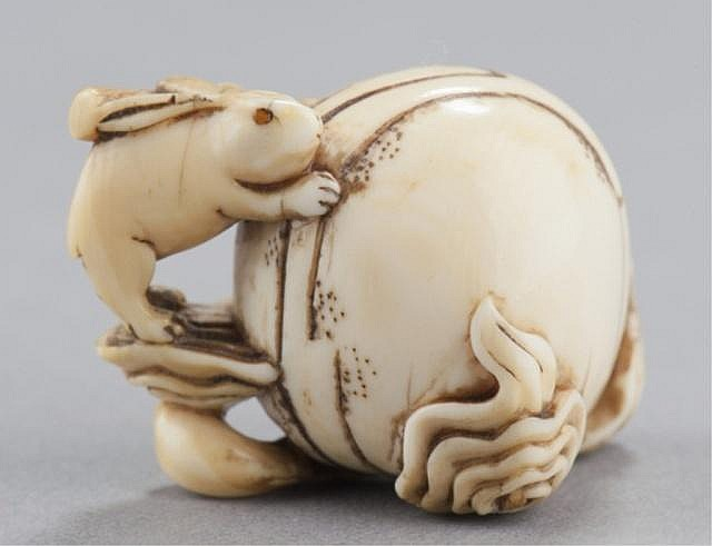 An ivory netsuke of the Lunar Hare.