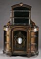 Two tier display case of ebonized wood w/ glass
