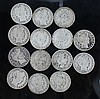A lot of Barber Head Half Dollars. A lot of 14 Barber Head half dollars. 2 1906-O, 1908-O, 1907-D, 1910-S, and 1914-S.