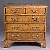 George II style Oyster Veneered chest of drawers.