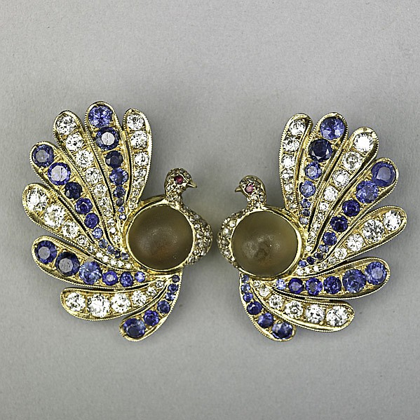JEWELED GOLD PEACOCK EAR CLIPS; Egyptian revival