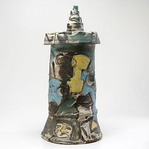 KIRK MANGUS Tall glazed earthenware covered vessel