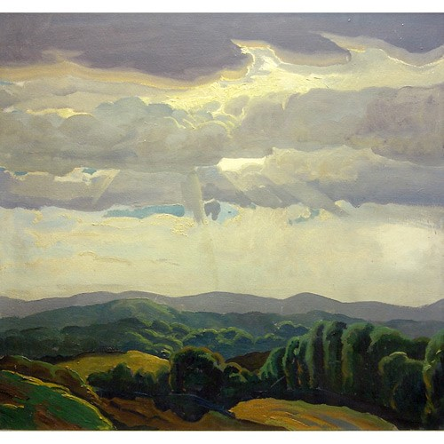 Domenico Mortellito (American b. 1906, New Jersey artist), sunbeams on a landscape, oil on board, 27