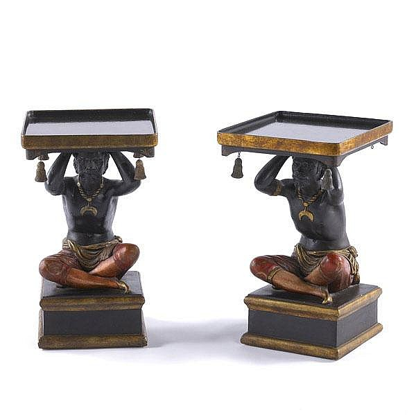 BLACKAMOOR TABLES Pair of decorative side tables