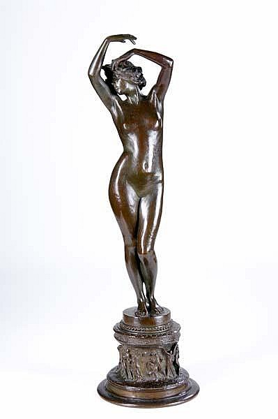Emil Fuchs (Austrian/American, 1866-1929) Untitled (Phoebus Rediens Fugat Astra); Bronze; Signed
