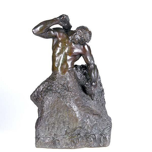 Albin Polasek (Czech/American, 1879-1965) Man Carving His Own Destiny, 1917; Bronze; Signed and dated