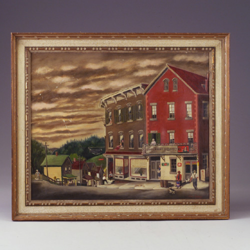 MARY EARLEY (American, b.1900) oil on canvas of street scene with figures, framed. 2