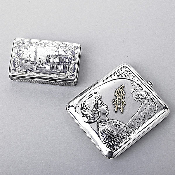 TWO RUSSIAN 84 SILVER SNUFF OR CIGARETTE CASES;