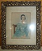 Ornate Framed Colored Lithograph,Lady with Bonnet