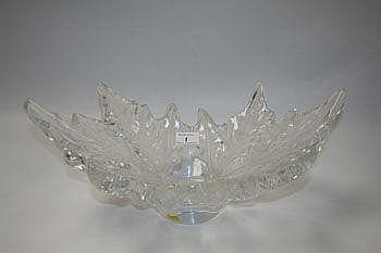 Large Lalique bowl, formed as spreading leaves on