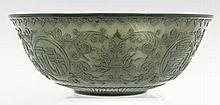 Chinese spinach jade bowl, the body carved with