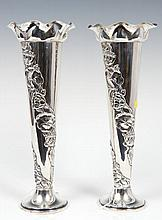 Pair Edwardian silver vases of trumpet form, with