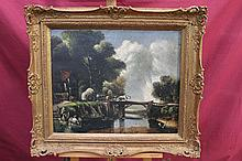 19th century English School oil on canvas in gilt