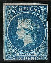 ST.HELENA 1856 6d blue imperf unused, light