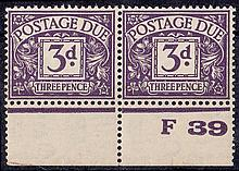 GREAT BRITAIN POSTAGE DUES 1937-38 3d violet